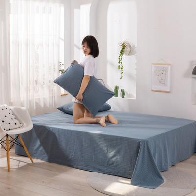 2020新款无印风全棉色织水洗棉单品床单 1.5m床--200*230cm 青春告白-兰