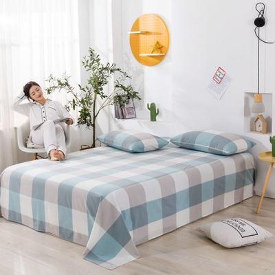 2020新款无印风全棉色织水洗棉单品床单 1.5m床--200*230cm 天兰大格