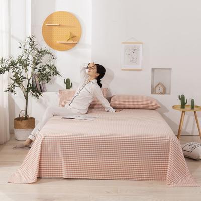 2020新款无印风全棉色织水洗棉单品床单 1.5m床--200*230cm 小格粉
