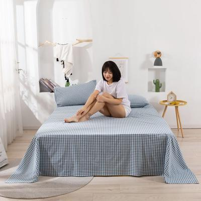 2020新款无印风全棉色织水洗棉单品床单 1.5m床--200*230cm 小格蓝