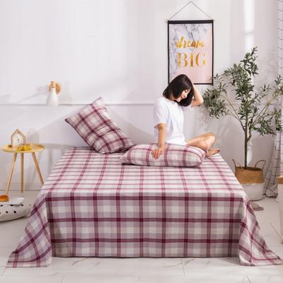 2020新款无印风全棉色织水洗棉单品床单 1.5m床--200*230cm 英伦-红