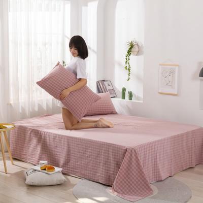 2020新款无印风全棉色织水洗棉单品枕套(48*74cm/对) 48cmX74cm/对 布丁格-粉