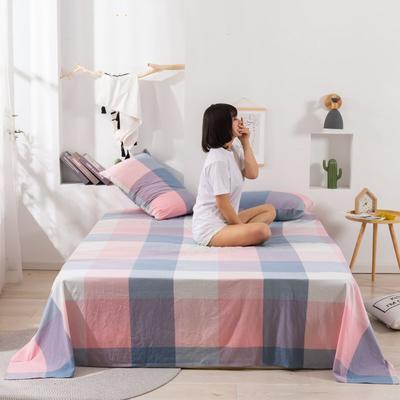 2020新款无印风全棉色织水洗棉单品枕套(48*74cm/对) 48cmX74cm/对 粉灰大格