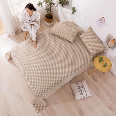 2020新款无印风全棉色织水洗棉单品枕套(48*74cm/对) 48cmX74cm/对 咖小格