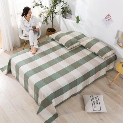 2020新款无印风全棉色织水洗棉单品枕套(48*74cm/对) 48cmX74cm/对 绿大格