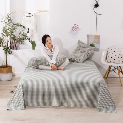 2020新款无印风全棉色织水洗棉单品枕套(48*74cm/对) 48cmX74cm/对 绿小格