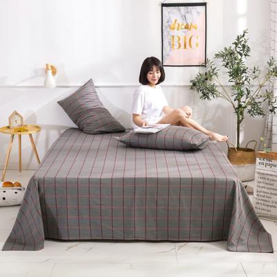 2020新款无印风全棉色织水洗棉单品枕套(48*74cm/对) 48cmX74cm/对 维京格-灰