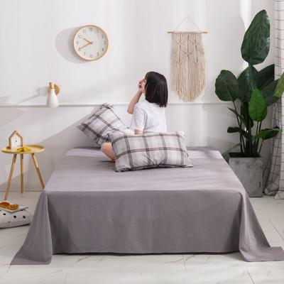 2020新款无印风全棉色织水洗棉单品枕套(48*74cm/对) 48cmX74cm/对 英伦-灰