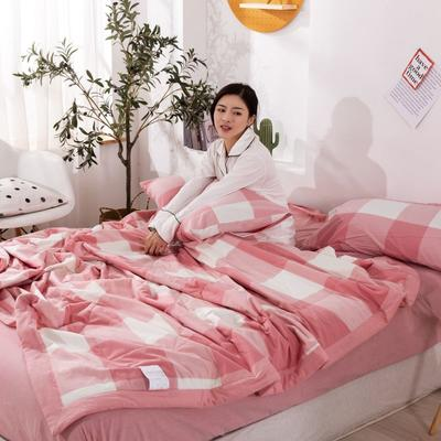 2020新款无印风全棉色织水洗棉可水洗棉花夏被 150x200cm  2.2斤 红白大格