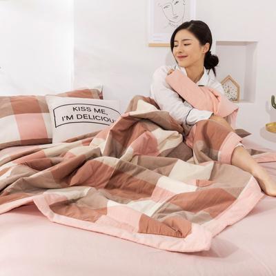 2020新款无印风全棉色织水洗棉可水洗棉花夏被 150x200cm  2.2斤 粉大格