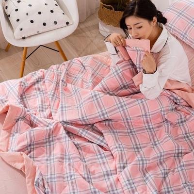 2020新款无印风全棉色织水洗棉可水洗棉花夏被 150x200cm  2.2斤 理想生活---粉
