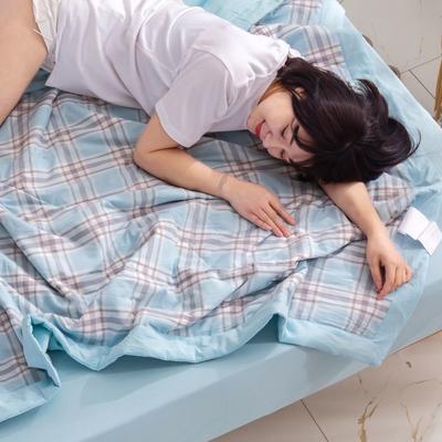 2020新款无印风全棉色织水洗棉可水洗棉花夏被 150x200cm  2.2斤 理想生活---蓝