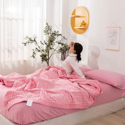 2020新款无印风全棉色织水洗棉可水洗棉花夏被 150x200cm  2.2斤 粉红小格
