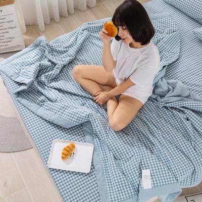 2020新款无印风全棉色织水洗棉可水洗棉花夏被 150x200cm  2.2斤 小格蓝