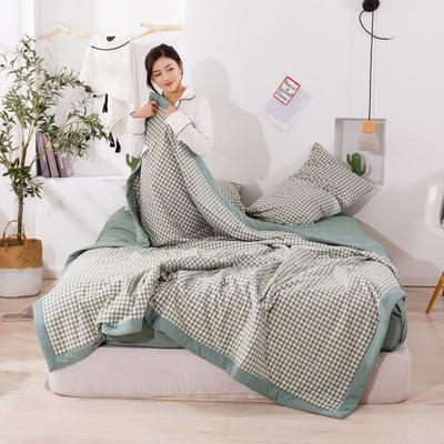 2020新款无印风全棉色织水洗棉可水洗棉花夏被 150x200cm  2.2斤 小格绿