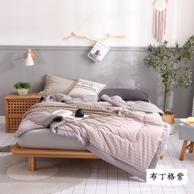 2020新款无印风全棉色织水洗棉可水洗棉花秋被 150x200cm  3.5斤 布丁格紫
