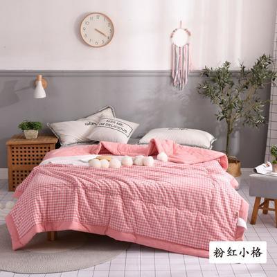 2020新款无印风全棉色织水洗棉可水洗棉花秋被 200X230cm  5.5斤 粉红小格