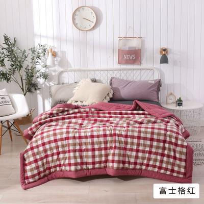 2020新款无印风全棉色织水洗棉可水洗棉花秋被 150x200cm  3.5斤 富士格红