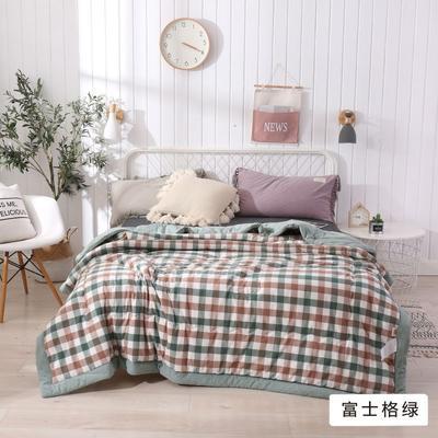 2020新款无印风全棉色织水洗棉可水洗棉花秋被 150x200cm  3.5斤 富士格绿