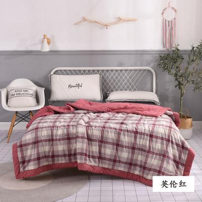 2020新款无印风全棉色织水洗棉可水洗棉花秋被 150x200cm  3.5斤 英伦红