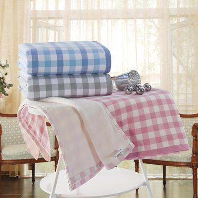 格子浴巾 粉红色