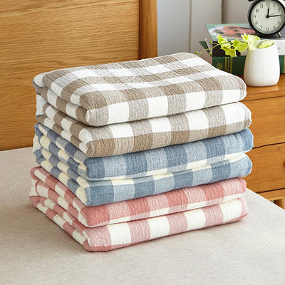 水洗纱布毯冷之巧格毛巾被 150cmX200cm 豆沙色