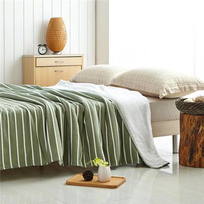 素雅条毛巾被 150cmX200cm 草绿