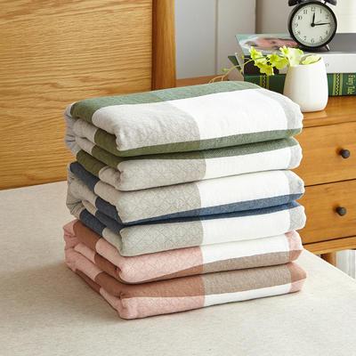 【微】水洗纱布毛巾被--复古大格 200cmx230cm 天蓝色