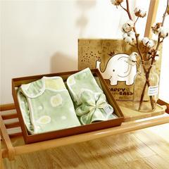 六层纱布礼盒 1条方巾+1条围嘴+1件睡袋+1条童被 煎蛋绿