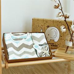 六层纱布礼盒 1条方巾+1条围嘴+1件睡袋+1条童被 水纹蓝