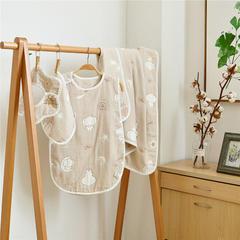 六层纱布礼盒 1条方巾+1条围嘴+1件睡袋+1条童被 月亮象