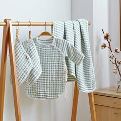 超柔皱皱纱礼盒 2条方巾+1件旗袍+1条童被 条纹绿