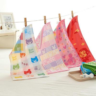 三层提花纱布童巾-袋装 袋装花型随机