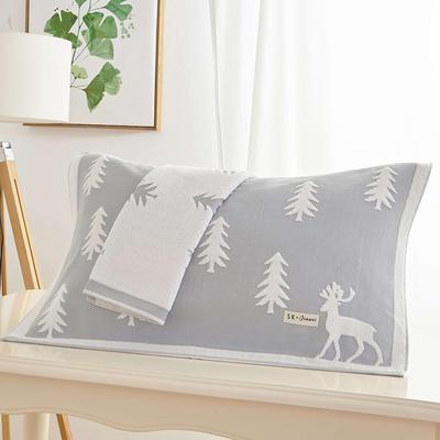 圣誕鹿枕巾 淺灰色