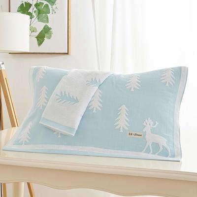 圣诞鹿枕巾 浅蓝色