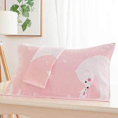 腳印枕巾 粉色