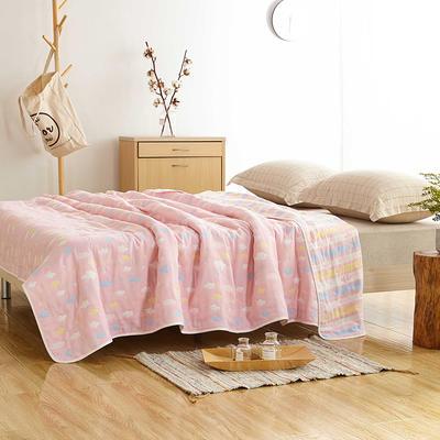 六层纱布毯  爆款花型很多 120cmX150cm 彩云粉