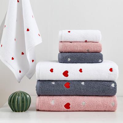 表白套巾三件套两毛一浴 粉色