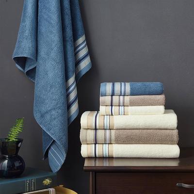 竹纤维宽段套巾两毛一浴 乳黄