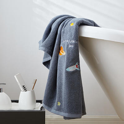 2019新款星月浴巾70*140 蓝灰色