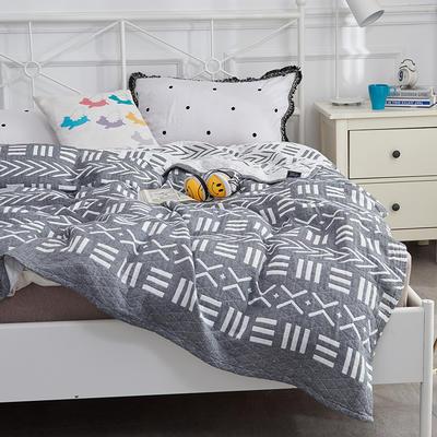 2019新款三層水洗紗布毯 200X230cm 符號灰色