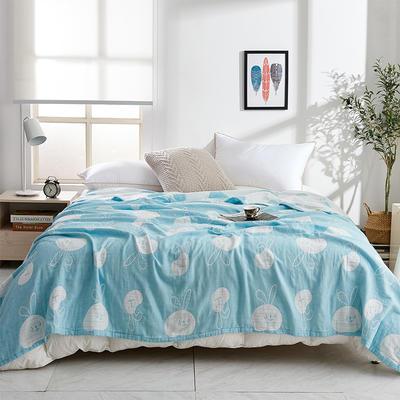 2019新款三层水洗纱布毯 150x200cm 兔子蓝