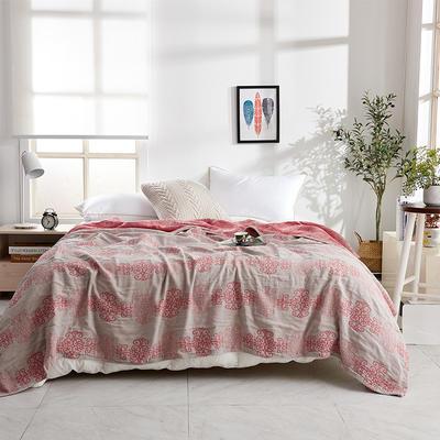 2019新款三层水洗纱布毯 150x200cm 中国结红
