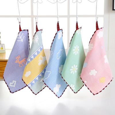 六层纱布方巾 随机1条
