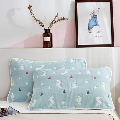 2019新图六层纱布枕巾系列 玻璃狗豆青