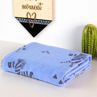 双层纱布毛巾被盖毯 200cmx230cm 斑马蓝