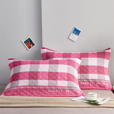 三层夹棉枕巾 字母格红
