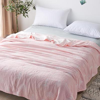 三层水洗纱布薄款 200cmx230cm 森林粉色