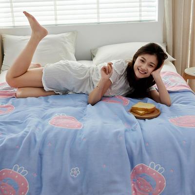 2021新品爆款六层AB版纱布盖毯 200cmx230cm 草莓女孩