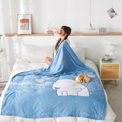 四层AB版大版花纱布毯 150cmX(范围200-220)cm 白熊